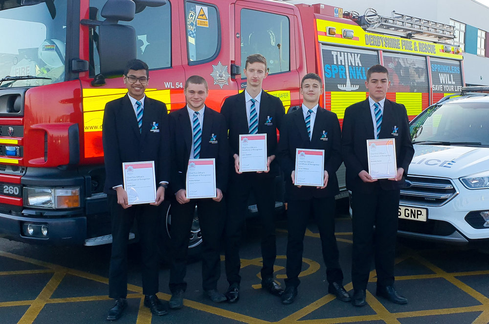 The Shirebrook Academy pupils with their certificates – from left, Josua Jope, Archie Ashton, Liam Gladwin, Farren Walters and Brandon Butler. Penguin PR: public relations, media and communications
