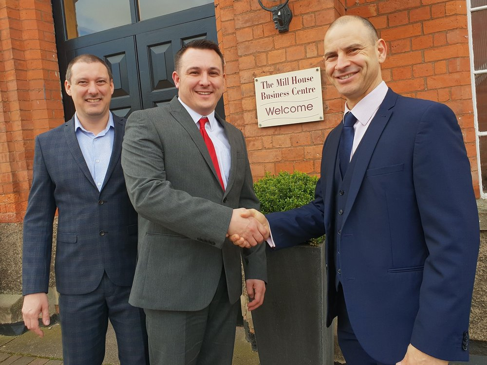 From left, Lee Griffiths and Lee Chiswell, who have opened a new franchise of UK mortgage advisers Finance Advice Centre franchise in Castle Donington, Leicestershire, with Matt Cassar, managing director of the Finance Advice Group. Penguin PR: public relations, media and communications