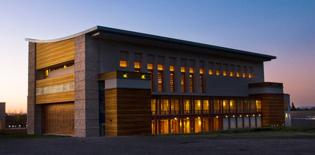 The Green Music Center's warm glow at dusk