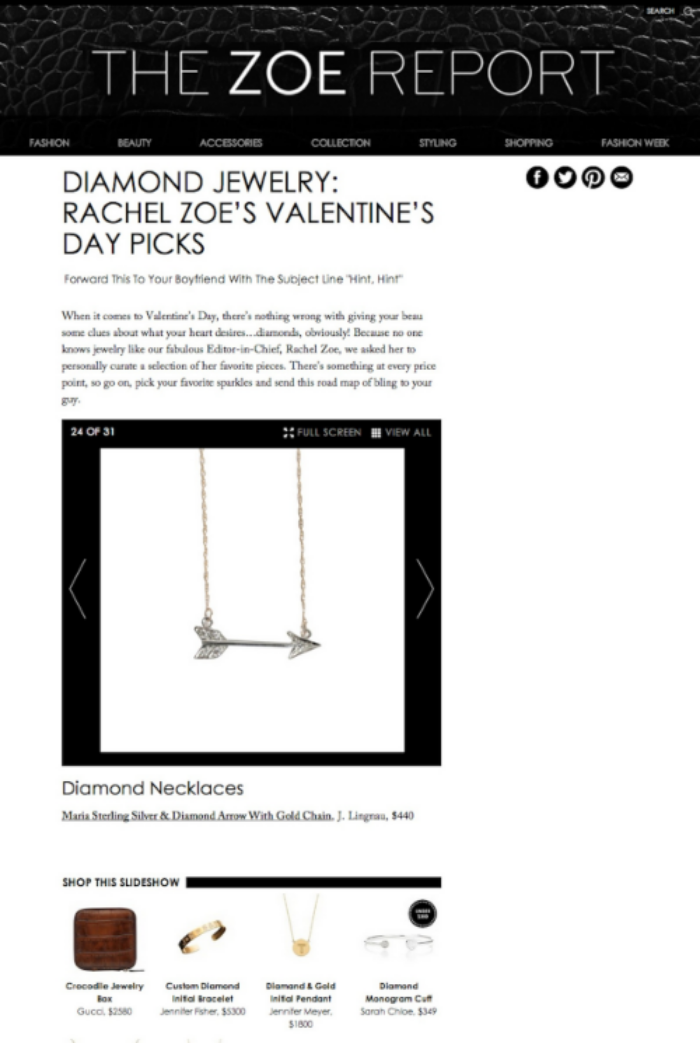 the zoe report maria diamond arrow necklace