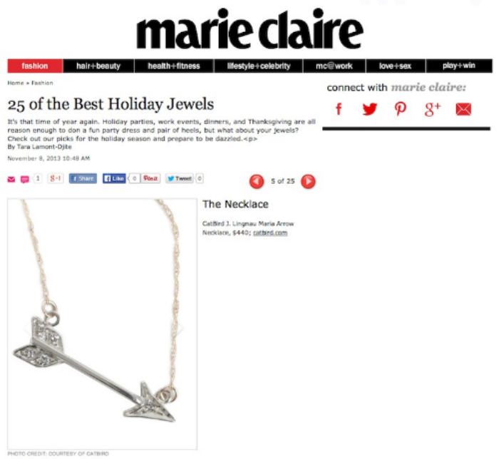 marie clair magazine maria diamond arrow necklace