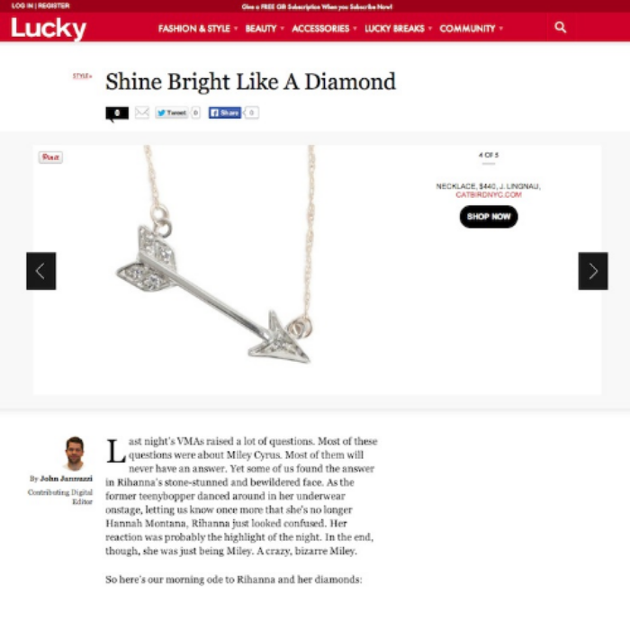 Lucky magazine maria diamond arrow necklace