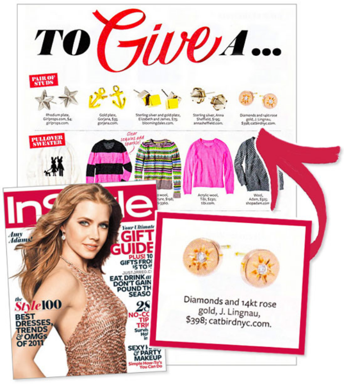 instyle magazine arielle rose gold diamond stud earrings