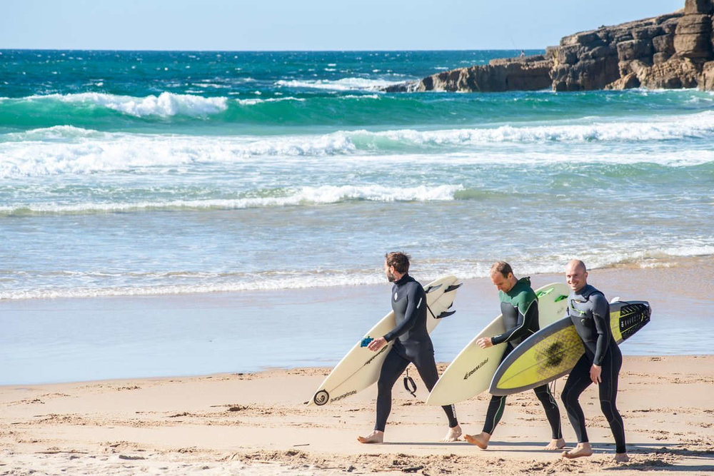 The guys excited to go surfing
