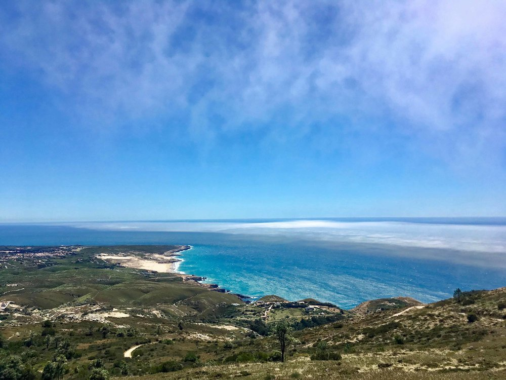 A breathtaking view from the top of the mountain, overlooking Guincho beach