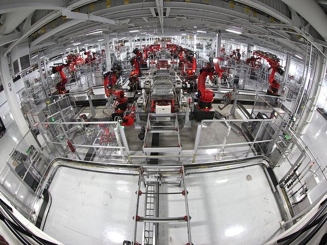 Tesla's nearly human-free assembly plant. @jurvetson via Flickr