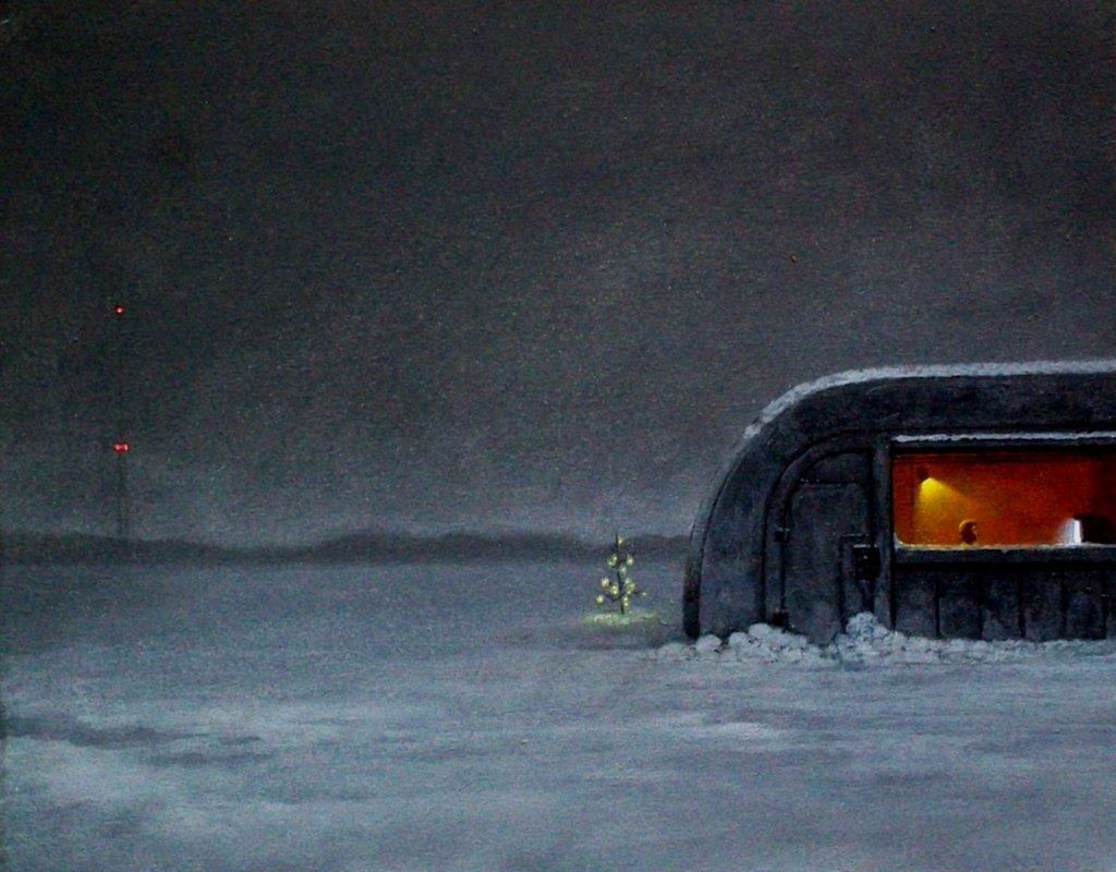 surrealism :        Urlicht   by  Danny Malboeuf , 2013. Acrylic on canvas, 16 x 20 inches.