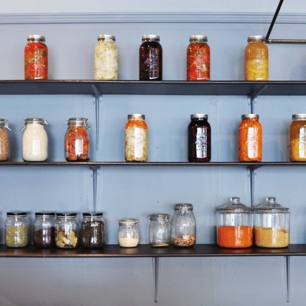Jars of pickles and spices (at Café Replika)