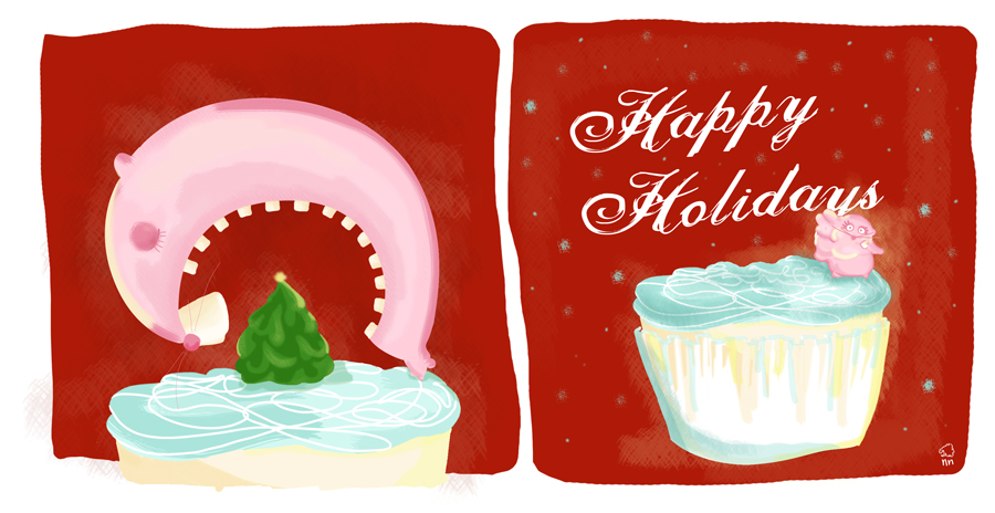 "nunulanka :     Eski bir ""Mutlu yillaaar!!!"" karti. Hala bir suru isim oldugundan uzun zamandir yeni ilustrasyon yapamadim :(   //   An old ""Happy Holidays"" card. I still have soo much work that I dont have time to illustrate for fun :("