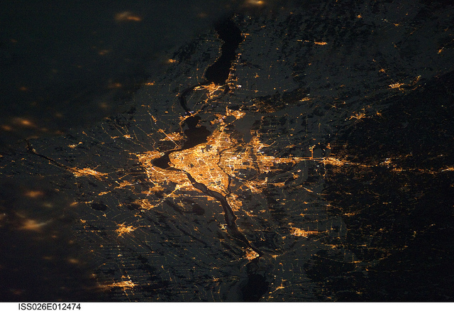 Not very surprising I guess :)     dabawenyotraveler :      Montreal at Night (NASA, International Space Station, 12/24/10)  by  NASA's Marshall Space Flight Center  on Flickr.   Montréal