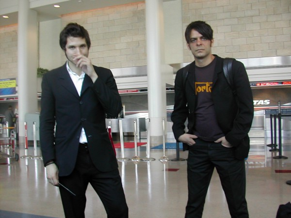 Daniel & Sam, Interpol, some airport headed somewhere, forever ago c 2003/4.