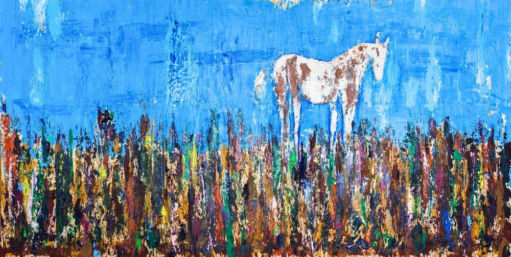 """One Horse Town - 18"""" x 36"""" - $450"""