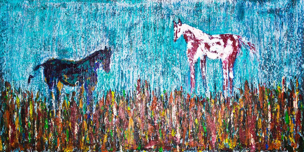 "Wildflower Horses - 18"" x 36"" - $450"