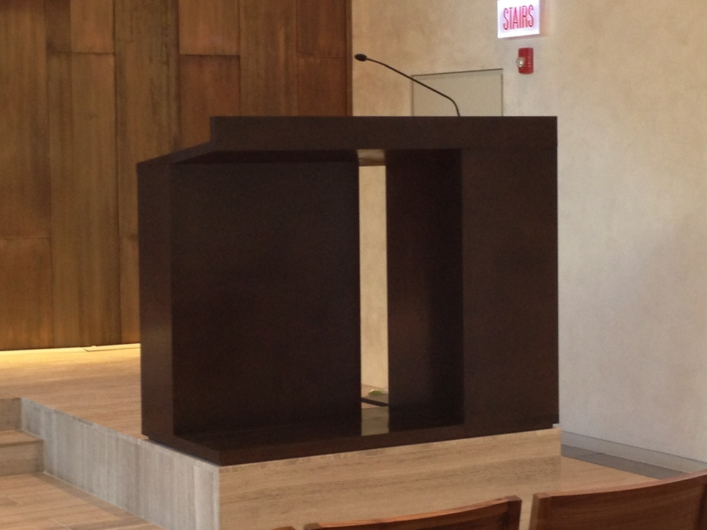 TRU custom fabrication of bronze lectern