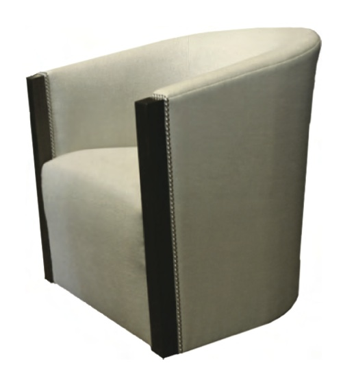 "TRU furniture BARDO SWIVEL BARREL CHAIR, tight back, tight seat, walnut trim at face of arm, silver nailhead detail, swivel base, size: 29"" W x 31.5"" H x 32"" D"