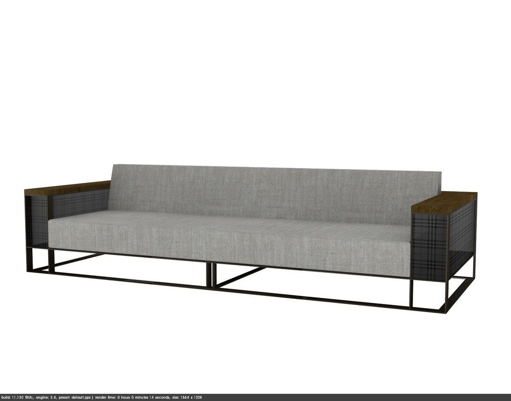 TRU Product development for private outdoor furniture company. Rendering of powder coat frame sofa with teak arm caps,mesh inset arm panels