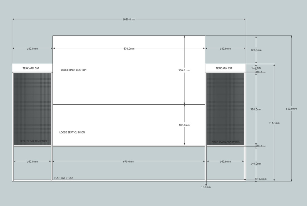 TRU Product development for private outdoor furniture company. Shop drawings of front view measurements and detail notes.