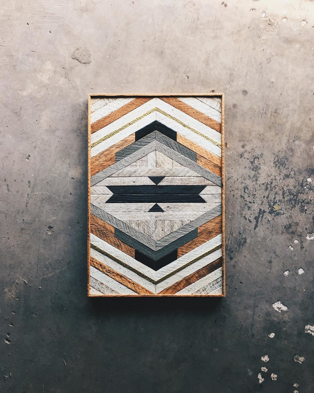 "Tellialah Braun - Wall Art - 22""x33""  Made from reclaimed house wood from Nashville, TN & textured brass"