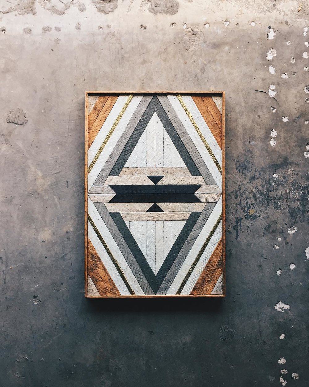 "Samantha Creamer - Wall Art - 22""x33""  Made from reclaimed house wood from Nashville, TN & textured brass"