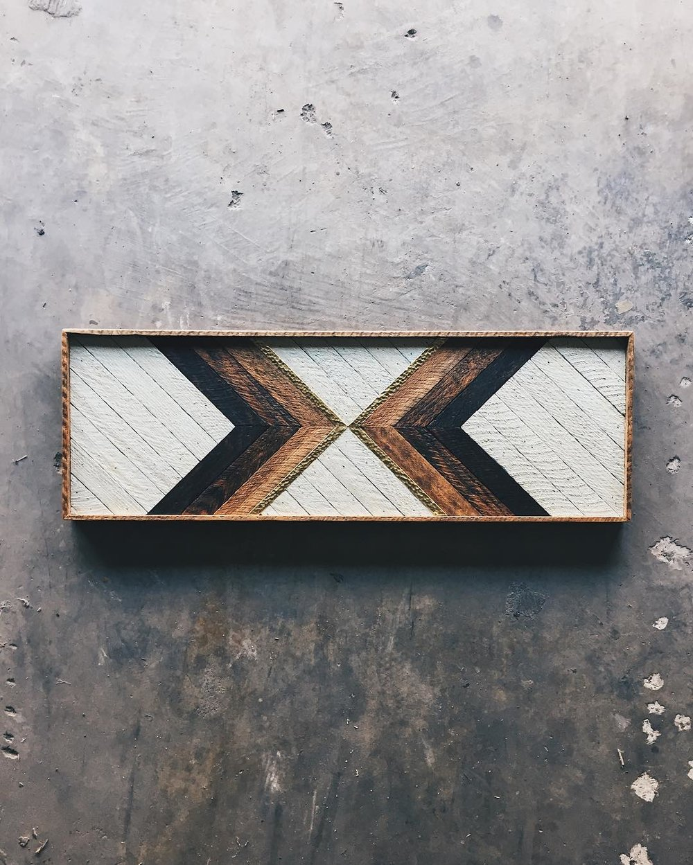 "Kyle Welch - Wall Art - 36""x12""  Made from reclaimed house wood from Nashville, TN & textured brass"