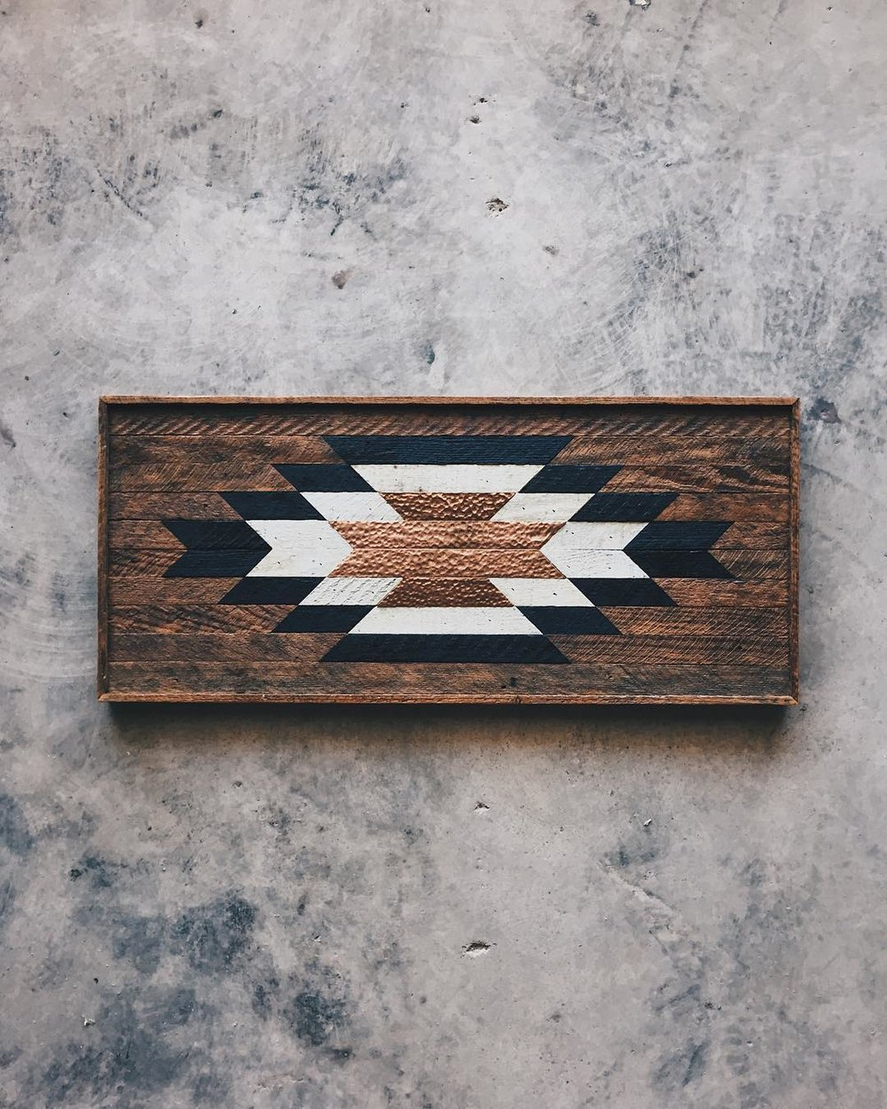 "Old New House - Wall Art - 33""x15.5""  Made from reclaimed house wood from Nashville, TN & textured brass"
