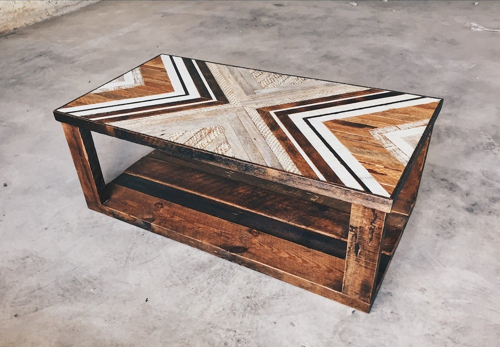 "Kaitie D'Amico - Coffee Table w/ reclaimed wood base & legs - 48""x24""x18"" Made from reclaimed house wood from Nashville, TN"
