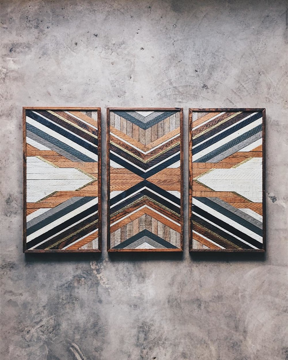 "Michael Hartwick - Wall Art - (3) 18""x36"" Made from reclaimed house wood from Nashville, TN & textured brass"