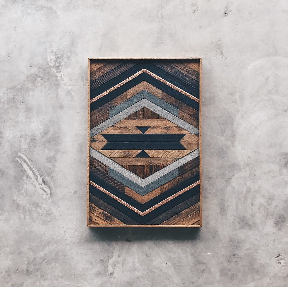 "Robert Hamrick - Wall Art - 22""x33""  Made from reclaimed house wood from Nashville, TN & textured copper"
