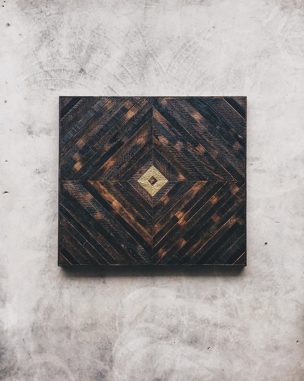 "Shane Miller & Lauren Duski - Table Top - 40""x36""   Made from reclaimed house wood from Nashville, TN & textured brass"