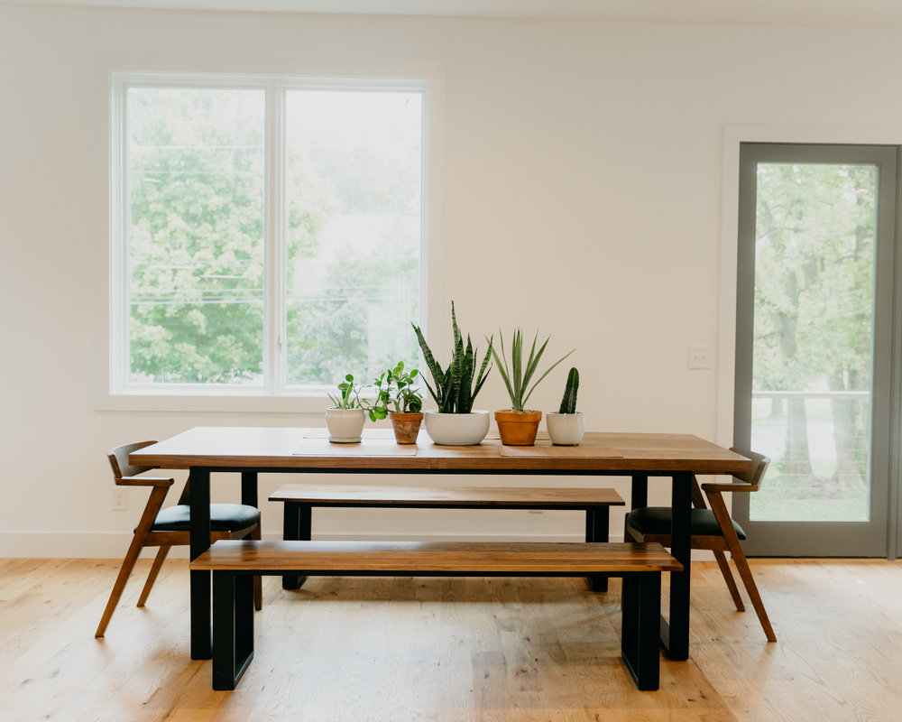 Matt Wanted A Spacious Dining Table That Could Seat Lots Of Friends So We Used Nice Walnut To Create Modern With Matching Benches