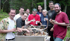 "The tech and design staff at the annual ""Pig Roast""   (soy pig for the veggies!)"