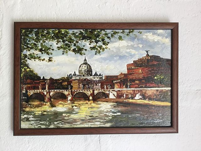Small canvas bought in Rome bonded to a backboard and framed with a simple brown and black frame #canvas #pictureframing #rome