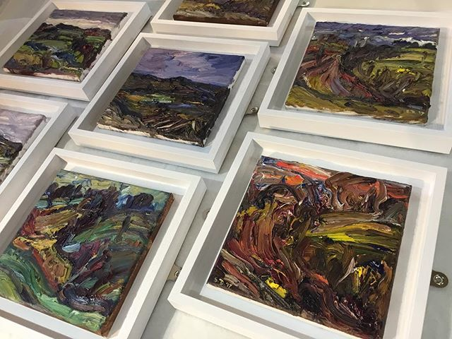 Set of canvases mounted into tray frames ready for exhibition #greatnorthartshow #pictureframing #trayframe