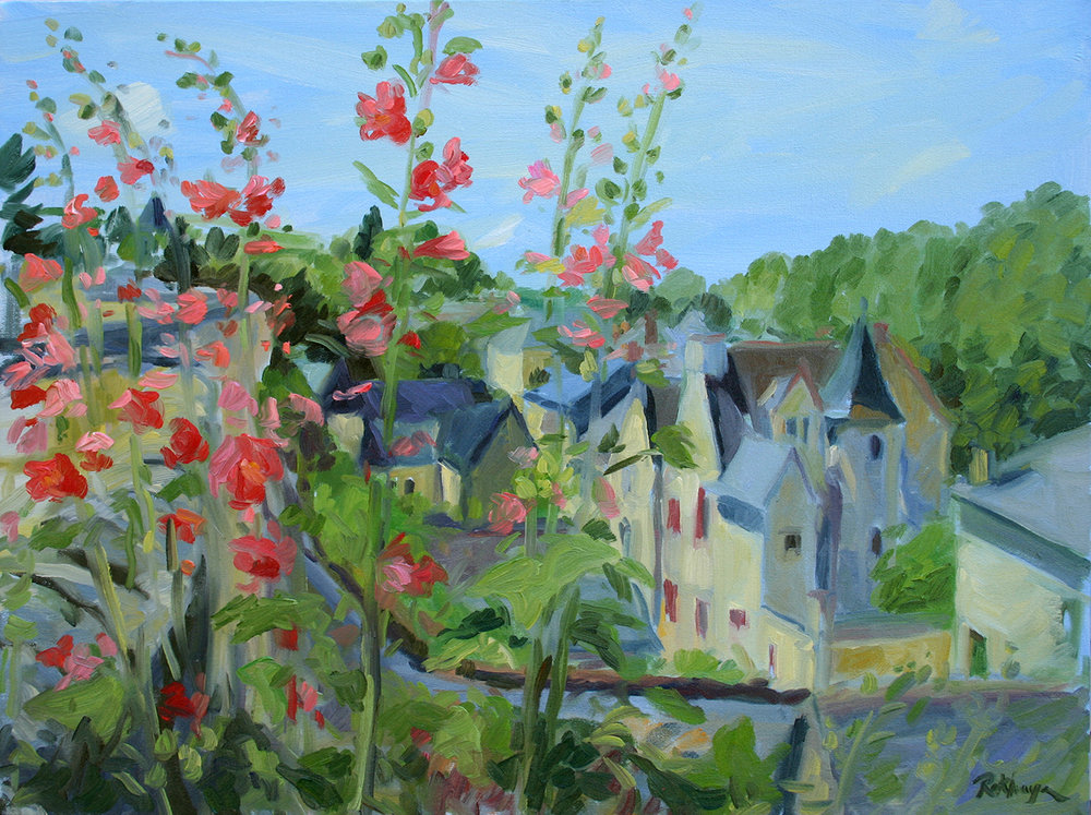 Hollyhocks at Montsoreau