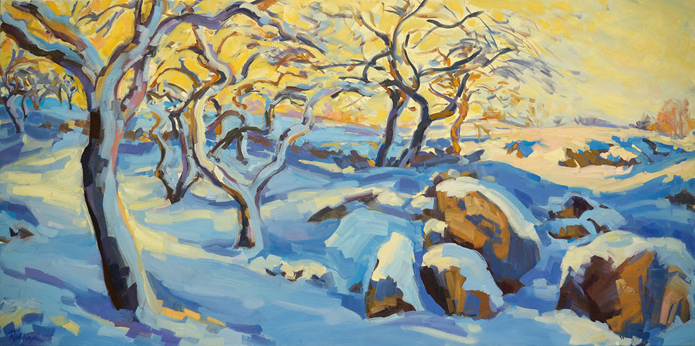 Apples Trees & Boulders in Snow