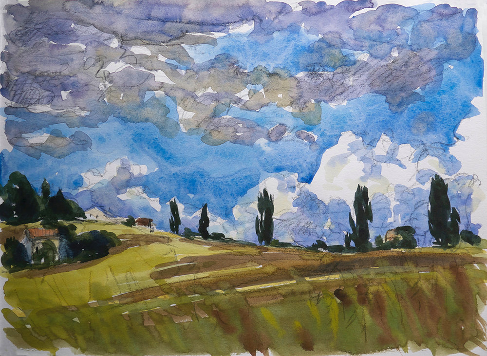 Cypresses & Summer Clouds