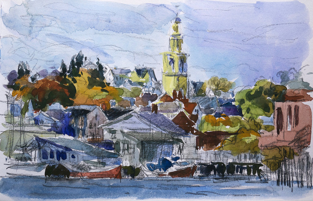 Gloucester Harbor with Church