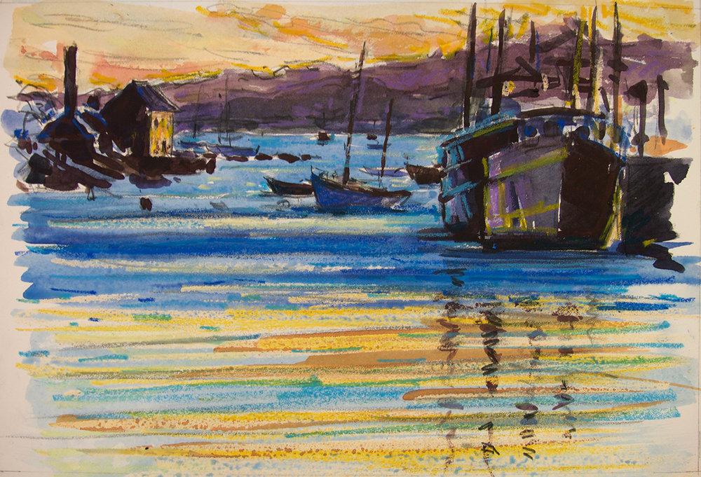 Gloucester Harbor at Dusk