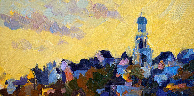 Church with Yellow Sky