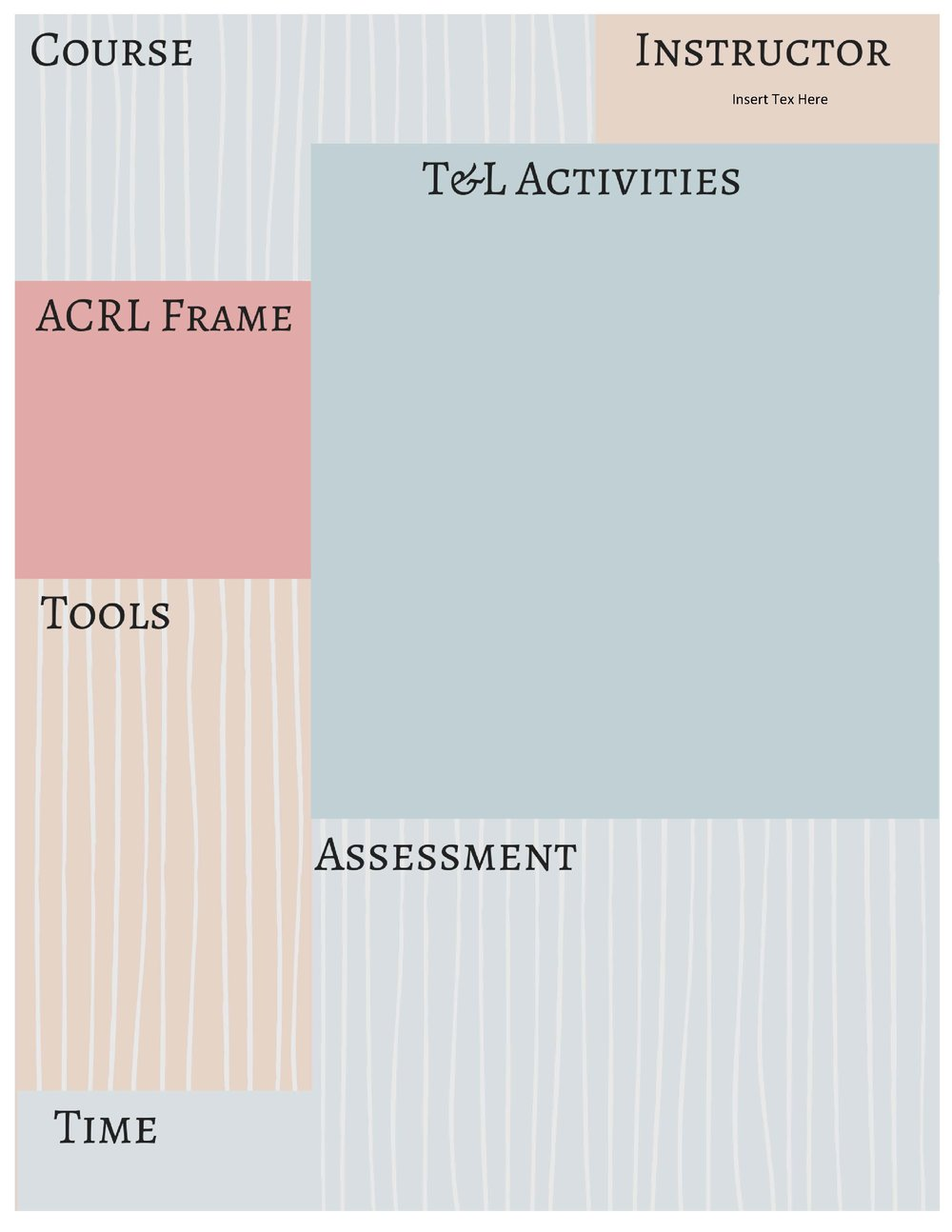 ACRL template with space for course name , instructor, Teaching and Learning Activities, ACRL frame, Tools, Time, and Assesment