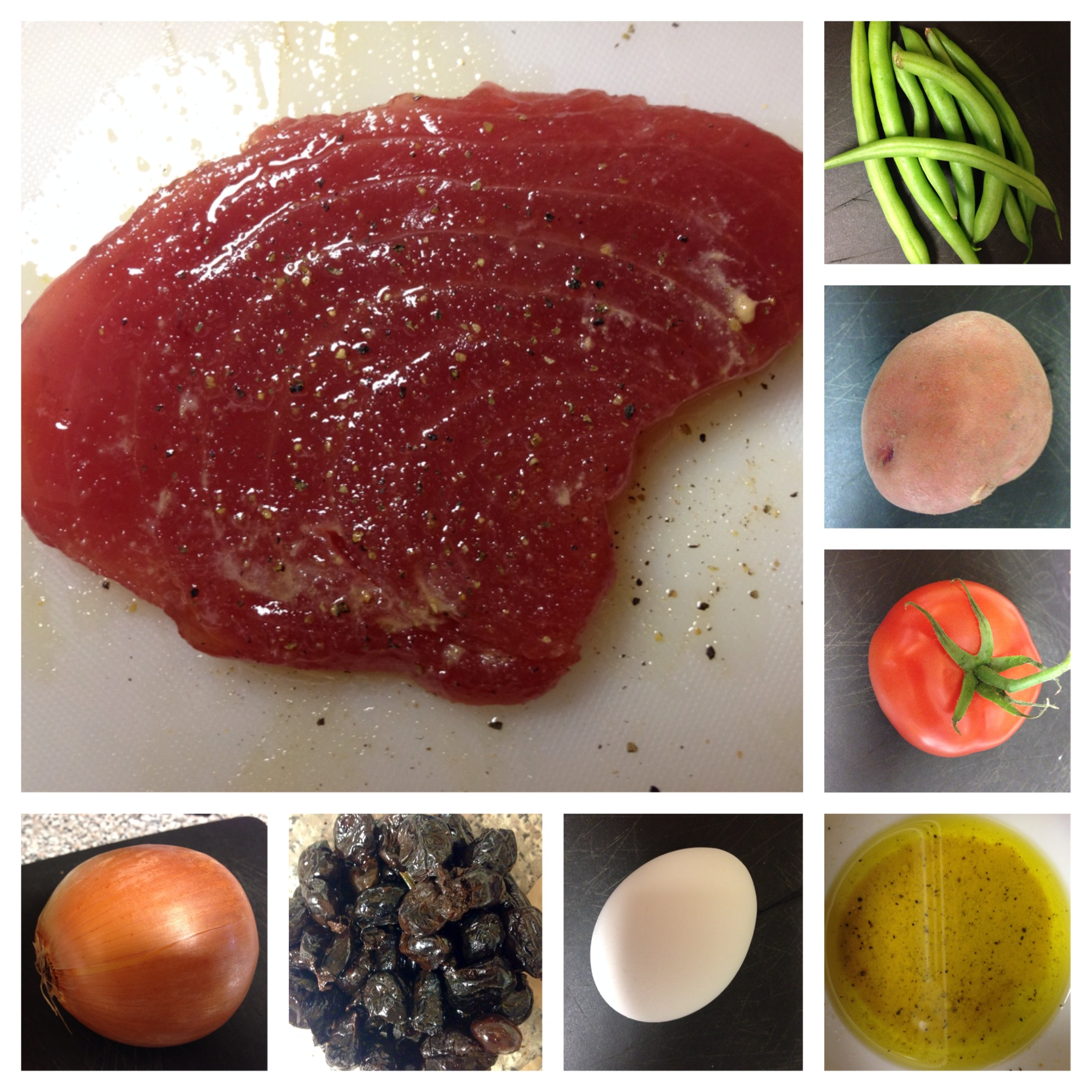 hard boiled egg 1 sliced ripe red tomato 1 red potato 1 small onion ...