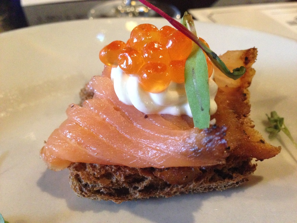 Smoked Salmon with Salmon Roe and Goat Cheese Crostini.