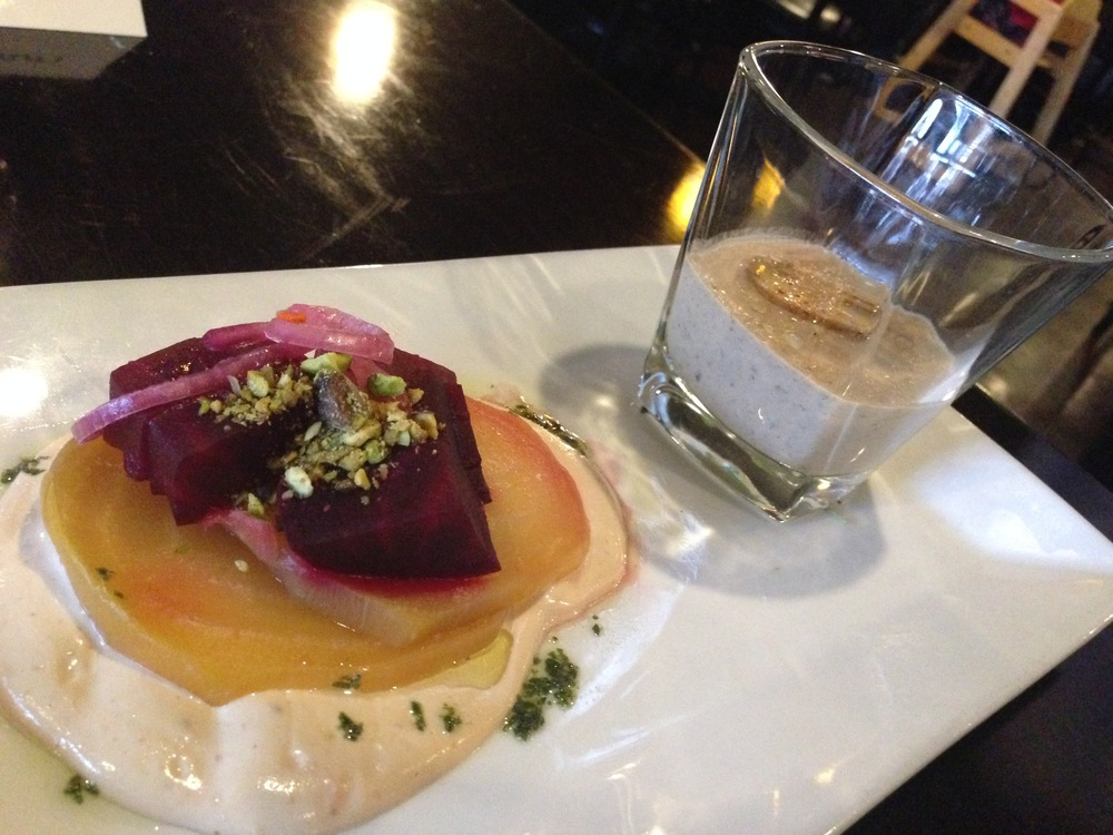 Roasted Beet Salad with a  Shot of Mushroom Brie Cream Soup