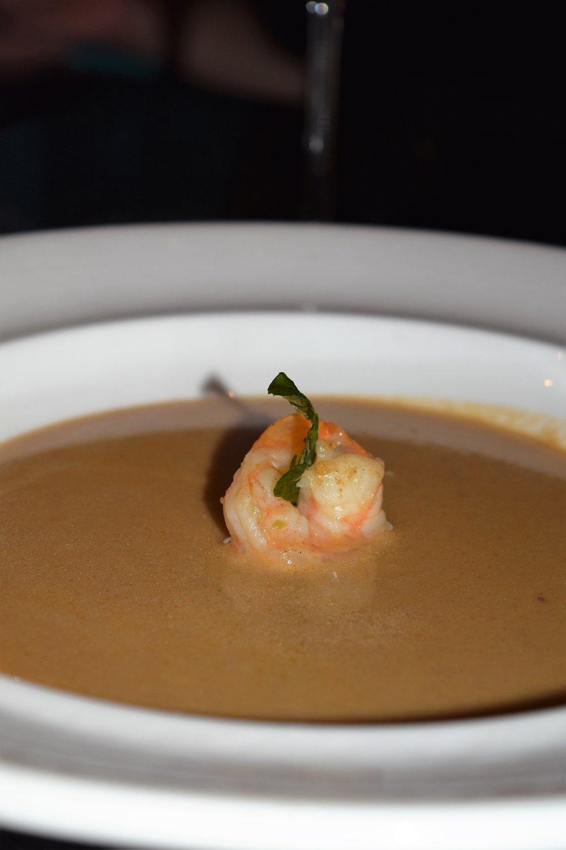 LOBSTER & SHRIMP BISQUE (lobster, shrimp, coconut, ginger and curry leaves)