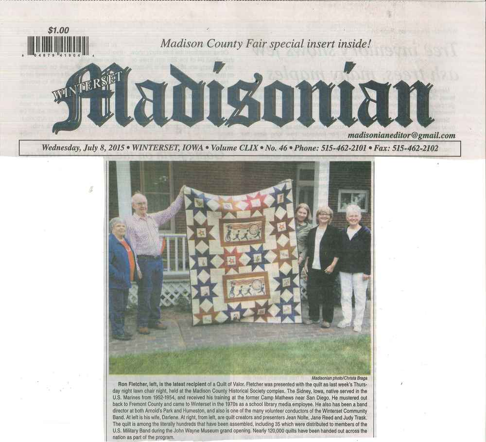 Ron Fletcher - Quilt Presentation - 7/2/15 - Winterset Madisonian