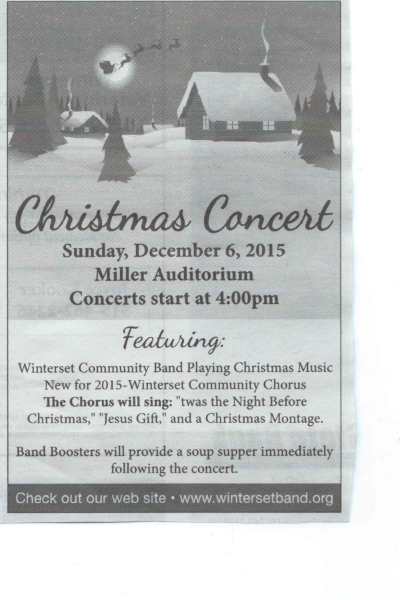 12th Annual Darwin Dasher Christmas Concert Shopper Ad - 12/2/2015