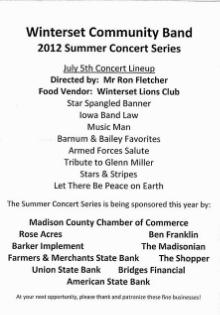 July 5, 2012 Concert Program