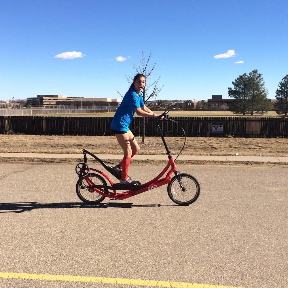 Maggie Callahan cruising on the ElliptiGO