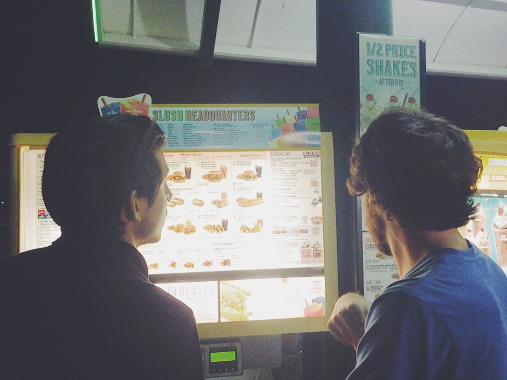 carlos and alex at sonic for their Meal of champions PHOTO CREDIT: LAYNA OYERVIDES