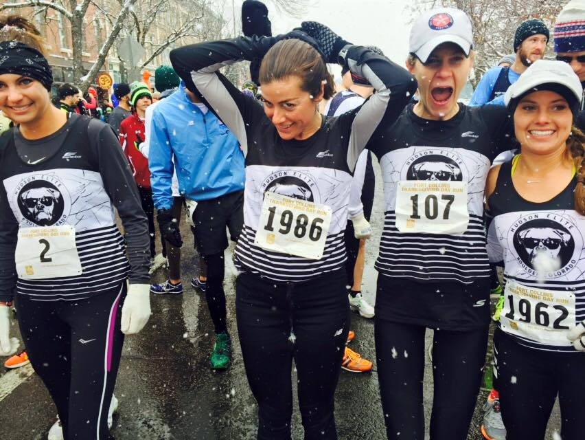 On the start line ready to take on the snow and slush. (From l: M. Callahan, J. Murphy, C. Becque, K. Lubieniecki)